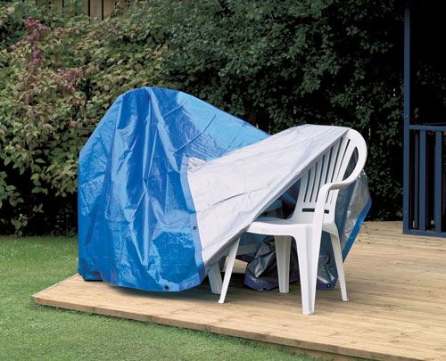 Tarp Covering Garden Furniture